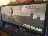 Walking dead poster with custom wood frame