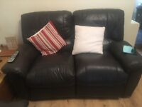3 seater and two seater brown leather reclining sofas
