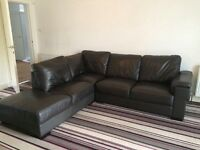 Dark brown leather L shaped sofa