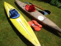 2 old Kayak canoes, with paddles etc. Great fun