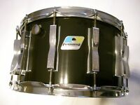 """Ludwig 484 Coliseum maple-ply snare drum - 14 x 8"""" - Blue/Olive, Chicago - '80s - 12 lug/6-ply"""