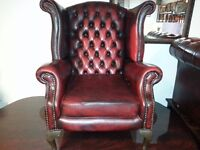 Lovely ox blood leather chesterfield high back queen Anne armchair. excellent condition.