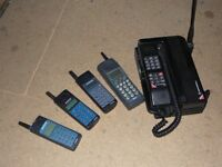 Collection of early mobile phones, antiques of the future.
