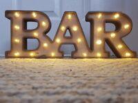 Wooden Vintage light up 'BAR' sign