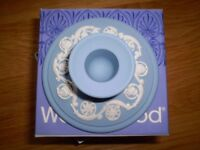 Wedgewood Jasper (pale blue) banquet candlestick,