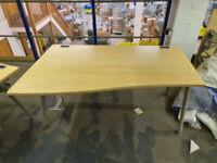 Beige Oak Desk Office Length 160cm Height 70cm Depth 80cm (R) and 100cm (L)