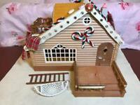 Sylvanian Log Cabin Decorated. Gingerbread style