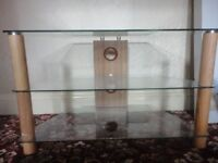 Pre owed Century Glass & Wood Tv Cabinet Stand - 80 cm length and 40 cm wide