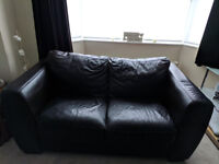 Dark Brown Leather 3 seater, 2 seater sofa' s & Leather power recliner chair