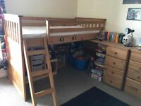 Wooden cabin bed with pull out desk