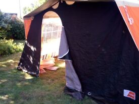 Retro 1980s orange/brown Frame tent 6 berth. Excellent condition, plus other camping equipment