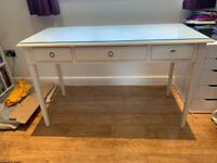 Elegant White Desk or Dressing table with three slim line draws, with protective glass top