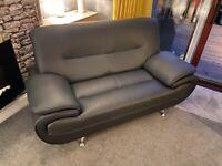 x 2 black faux leather sofas