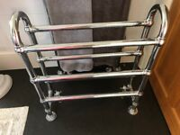 Vintage chrome, free standing, heated towel rail complete with 2 chrome taps