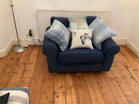 John Lewis Madison Snuggler / Large Chair. Dark Nordic Blue