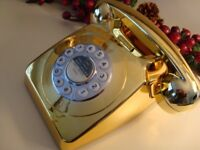 RETRO VINTAGE STYLE DESIGN GOLD TELEPHONE ADJUSTABLE VOLUME BRAND NEW IN PACKING COST £85 ONLY £35