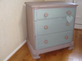 Shabby Chic Pine Chest of Drawers painted in Annie Sloan