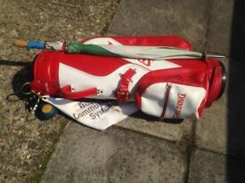 Golf clubs irons drivers putter bag trolley