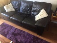 Dark brown leather 3 and 2 seat sofas £100 ono