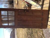 Solid wood door with original antique handle
