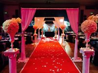 Flower Centrepieces, Chair Covers, Backdrops, Mehndi Nights, Moroccan Theming and Wedding Days!