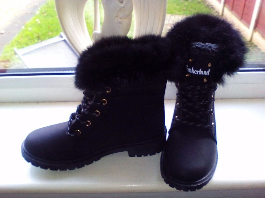 Brand new timberland fur boots