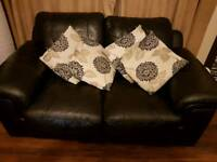 2 and 3 seater black leather sofas