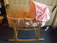 Pink moses Basket and stand + Beige Baby Bath