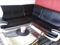 Corner sofa with modern coffee table