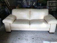 Cream leather 2 1/2 seat sofa Stoke Bishop, Bristol
