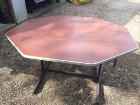 Folding Tables. Octagonal, Formica topped, canteen type folding table. Metal legs