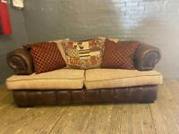 DESIGNER LEATHER SOFA CHESTERFIELD STYLE WITH FABRIC CUSHIONS