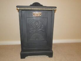Vintage Shabby Chic Wooden Coal Scuttle painted in Annie Sloan dark grey