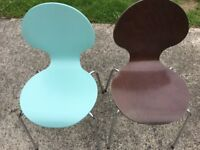 Pair of blue and green wooden / metal leg chairs