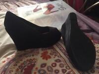 Shoo Box Suede peep toe wedges 7
