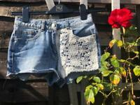 Summer light blue denim shorts for girls, 11 years
