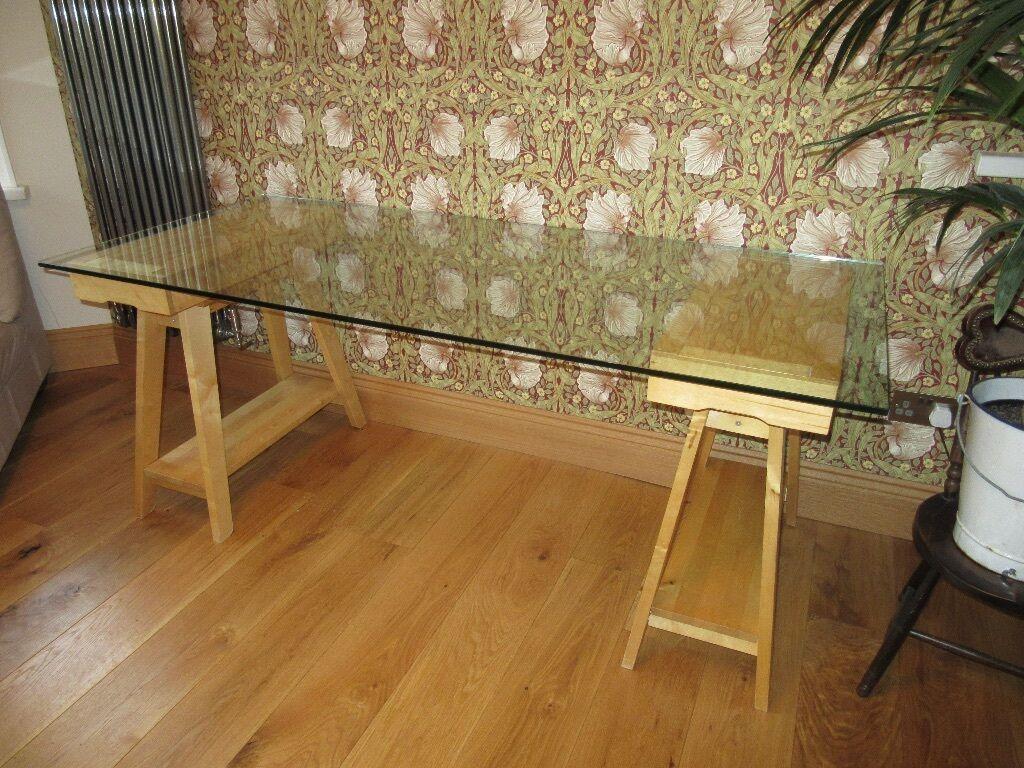 trestle office desk. HABITAT Large Glass Topped Beech Trestle Office Desk/Dining Table - 180Lx 80W X 73cms Desk