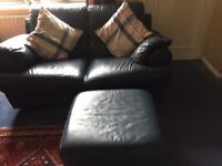 2 seater settee and pouffe blue leathet