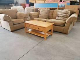 Brown fabric 2 seater and armchair suite