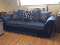 Black & Grey Shannon 3 Seat Sofa - New - £249 Including Free Local Delivery