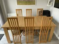 Extendable Dining Table and 6 Chairs Set