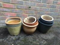 8 assorted china plant pots