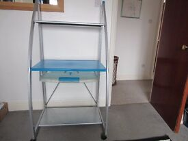 Modern Computer desk in blue and silver with metal frame and wheels