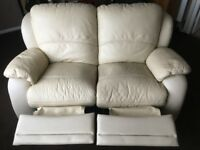 2 x Cream Leather Reclining Sofas - ***2 x 2 Seaters - BARGAIN***