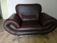 Choclate Brown Faux Leather Two & One Seater Sofa Se