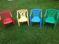 4 x children's garden chairs