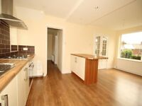 2 Cream 60cm kitchen units with 5ftx 3ft bench on top