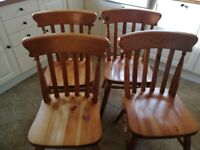 4 X Solid Pine Dining / Kitchen Chairs