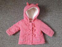 Debenhams Winter Pink Baby Girl Coat size 3-6 months