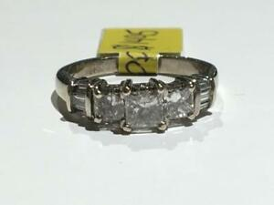 #67 14K WHITE GOLD PRINCESS CUT PAST PRESENT FUTURE *SIZE 5 1/4* APPRAISED FOR $4550.00 SELLING FOR ONLY $1495.00!!
